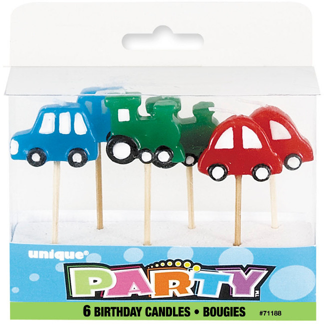 6 Car Pick Birthday Candles