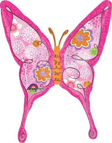 Foil Balloon SuperShape Butterfly Pink 94x70cm