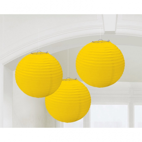 Paper Lantern Yellow 20cm (3pcs)