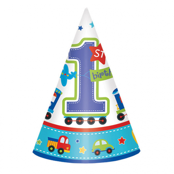 8 Party Hats 1st All Aboard Birthday