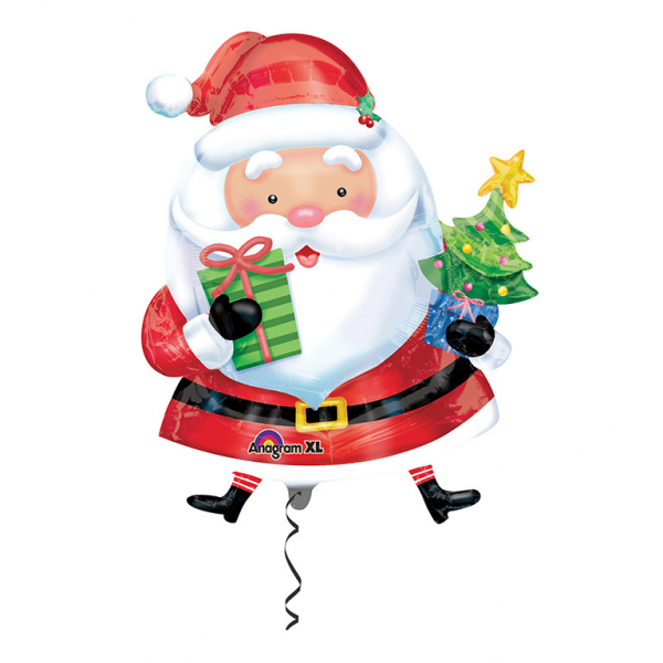 SuperShape Santa with Tree Foil Balloon
