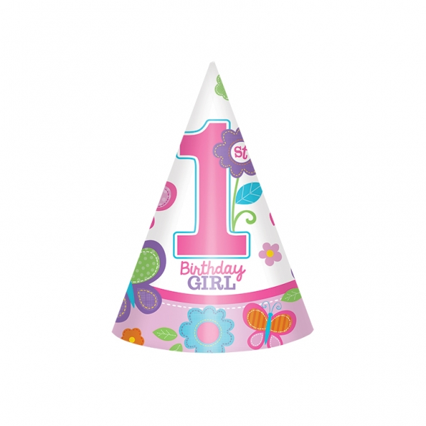 8 Party Hats 1st Birthday Sweet Girl