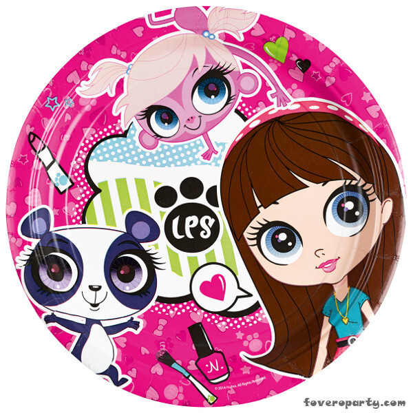 8 Plates 23cm Littlest Pet Shop