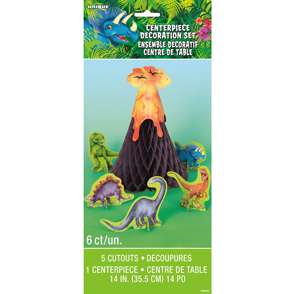Dinosaur & Volcano Centerpiece Decoration 6pc
