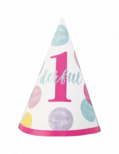 Party hat Pink Dots 1st Birthday
