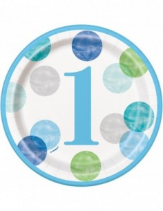 8 Paper Plates First Birthday Blue Dots 17cm