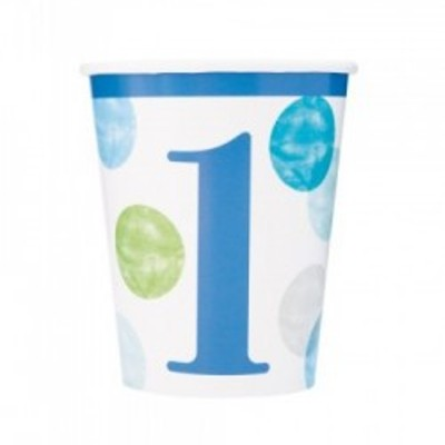 8 Cups First Birthday Blue Dots