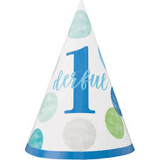 Party Hat First Birthday Blue Dots