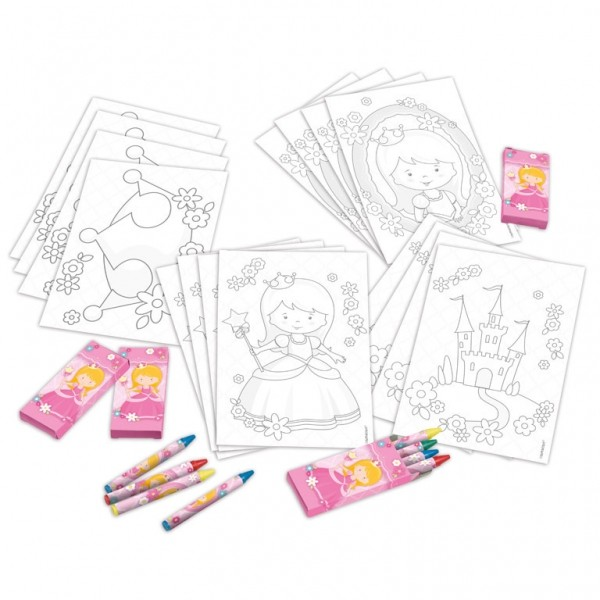 4 Colouring Set Princess (20pcs)
