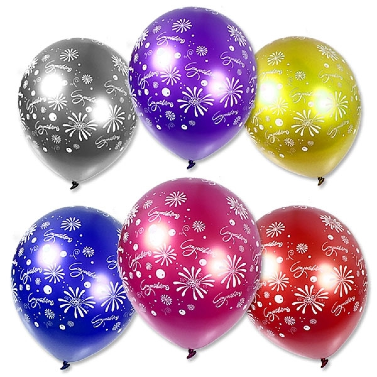 6 Balloons Congratulations assorted colours 27cm