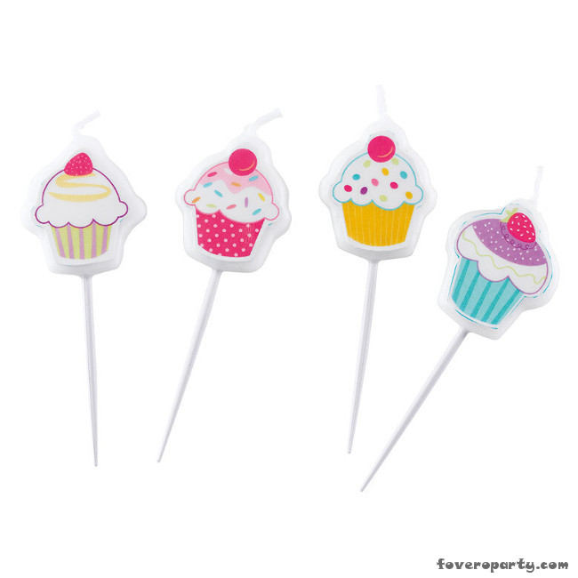 Mini Pick Candles Cupcake (4pcs)