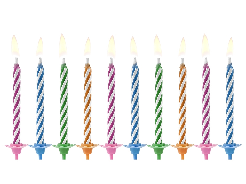 10 Birthday Candles Magic Stripes (assorted Colours)