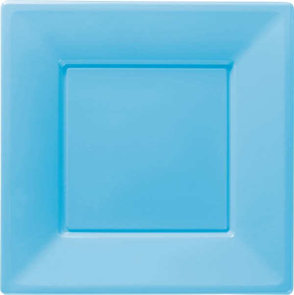 8 Square Plates 23cm Light Blue