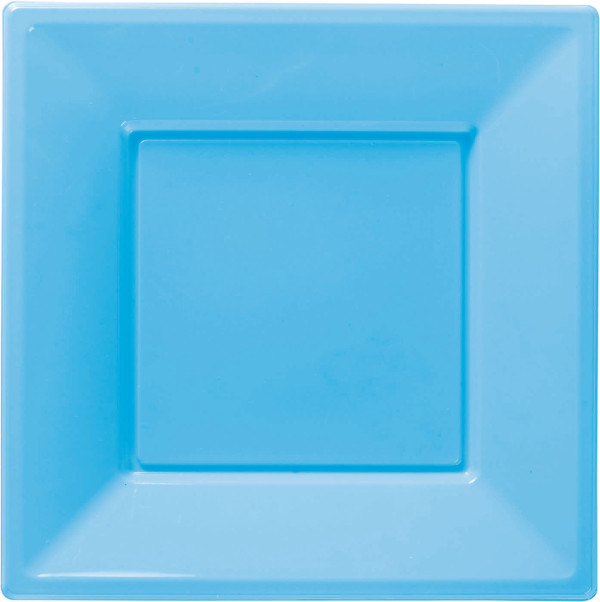 8 Plastic Square Plates 18cm Light Blue