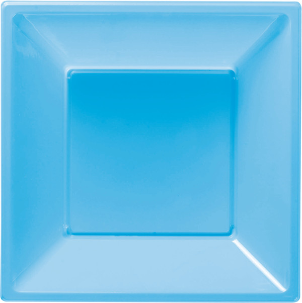 8 Plastic Deep Square Plates 18cm Light Blue