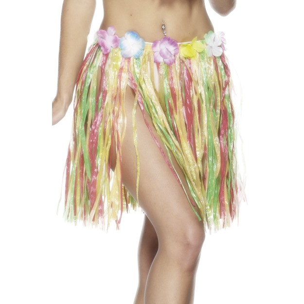 Hawaiian Elastic Hula Skirt, Multi-Coloured
