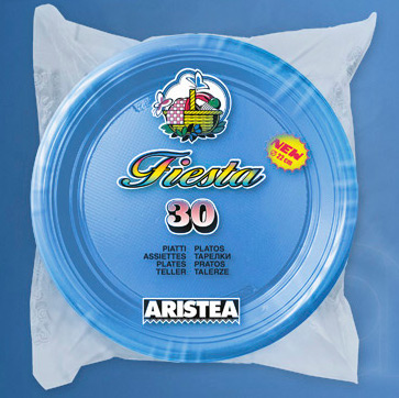 30 Plastic Plates 22cm Light Blue