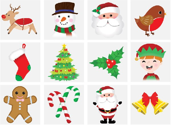 12 Christmas Mini Tattoos Assorted Designs
