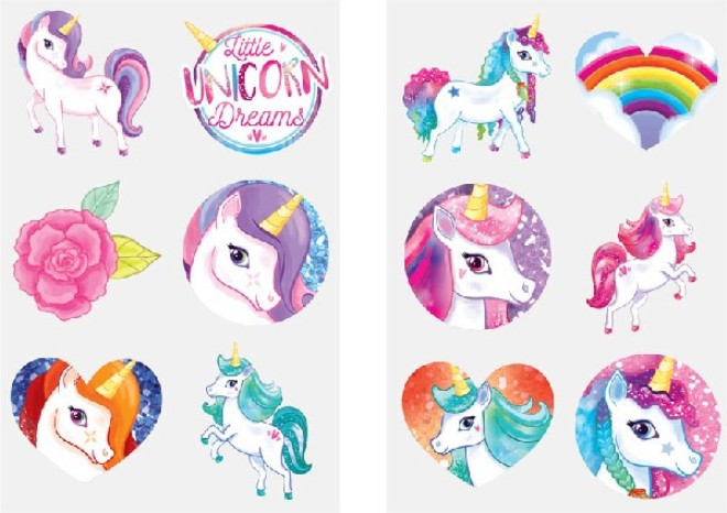 12 Unicorn Mini Tattoos Assorted Designs