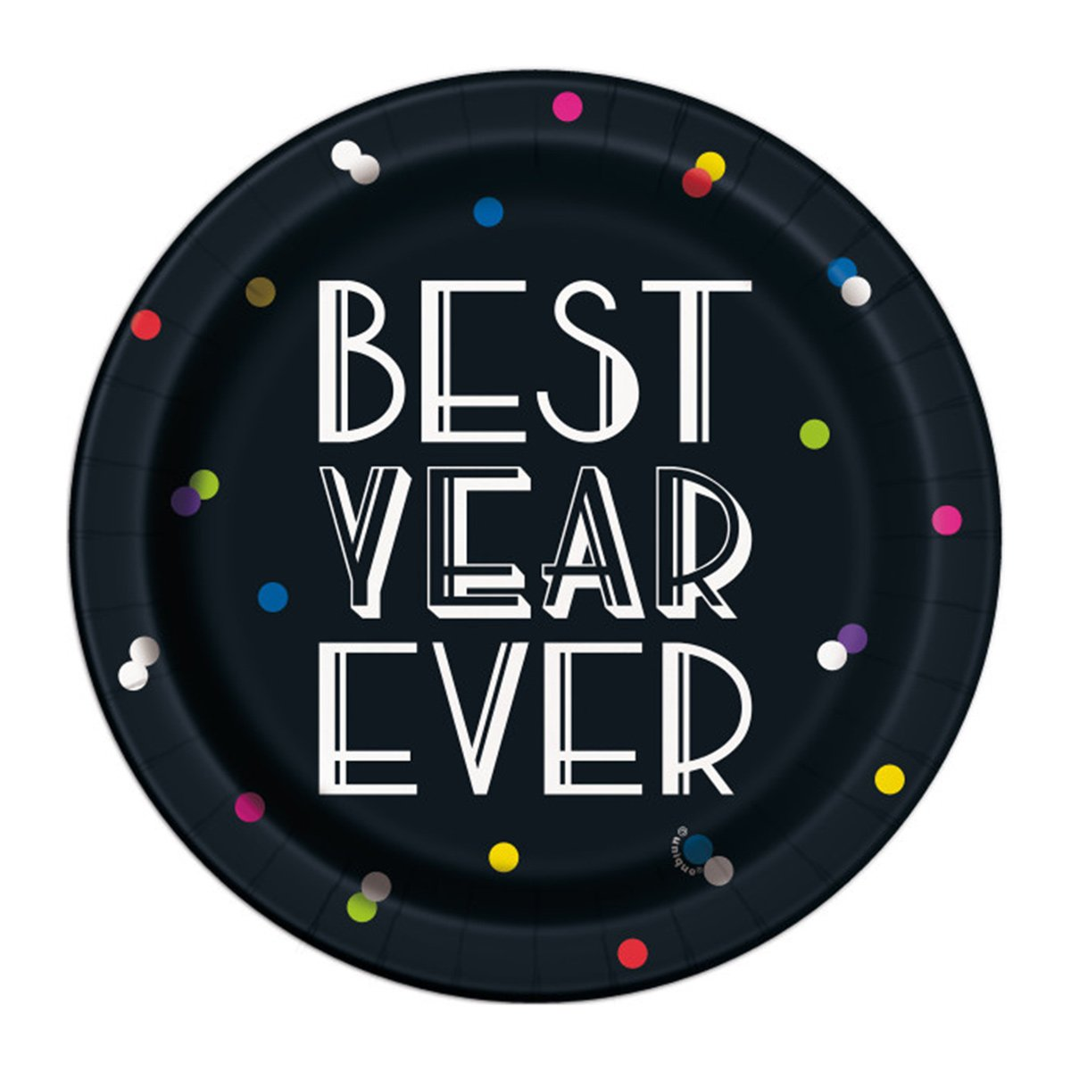 8 Paper Plates 17cm New Year Dots