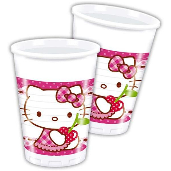 8 Plastic Cups Hello Kitty 200ml