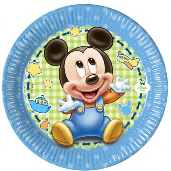 8 Plates Baby Mickey 19cm