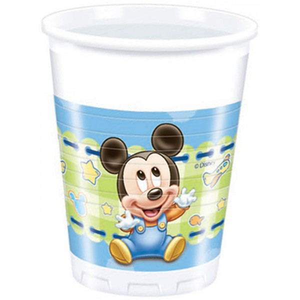 8 Plastic Cups 20cl Baby Mickey