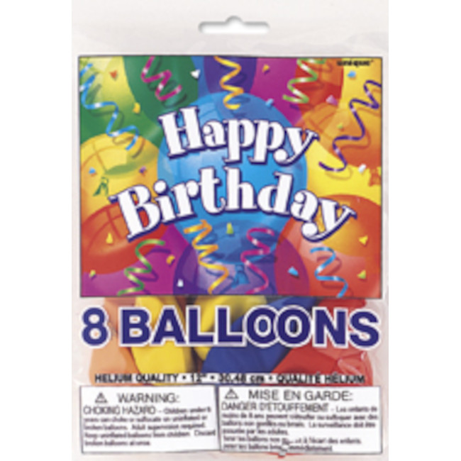 8 Balloons Happy Birthday assorted colours 30cm