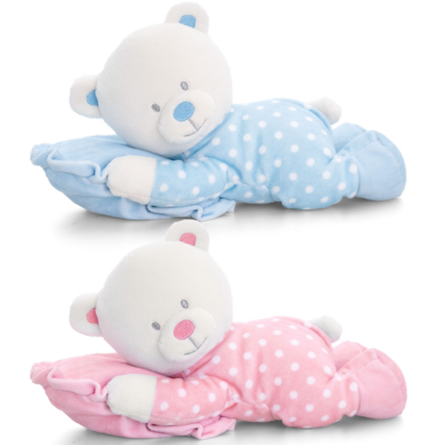 Baby Bear on Pillow Blue 25cm (1pc)