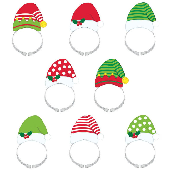 Santa and Elf Christmas Headbands (8 pcs)