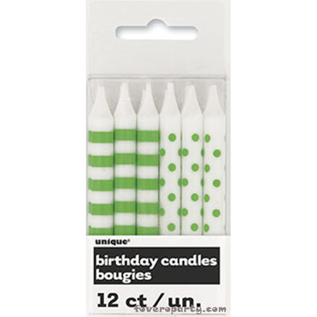 12 Lime Green stripes/dot Candles