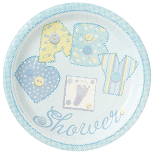8 Plates Baby Blue Baby Shower 23cm
