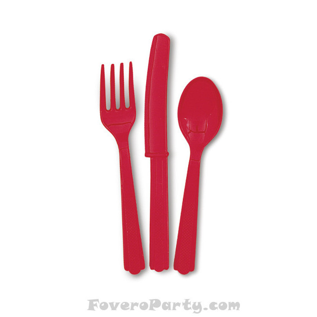 6 Set Cutlery Red (18pcs)