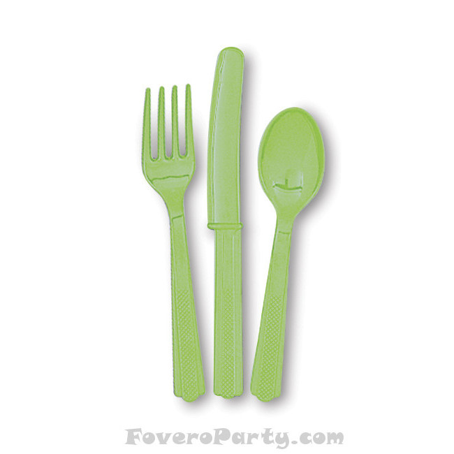 6 Set Cutlery Lime Green (18pcs)
