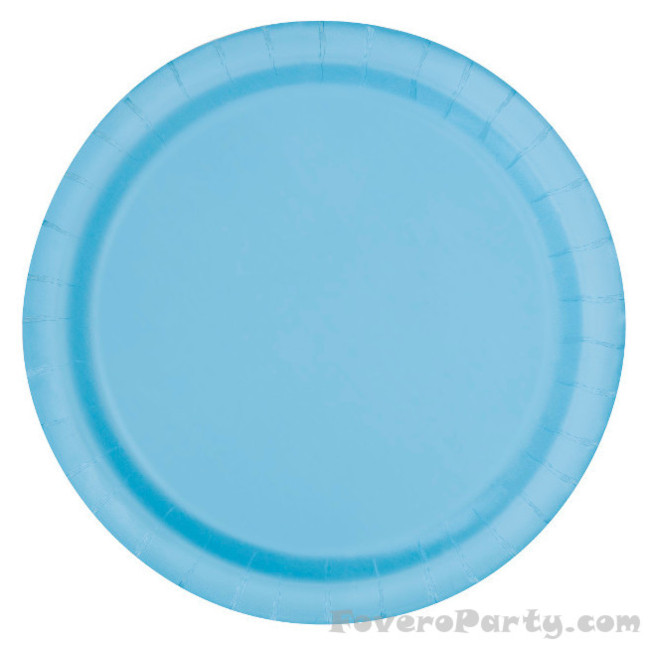 20 Paper Plates Light Blue 17cm