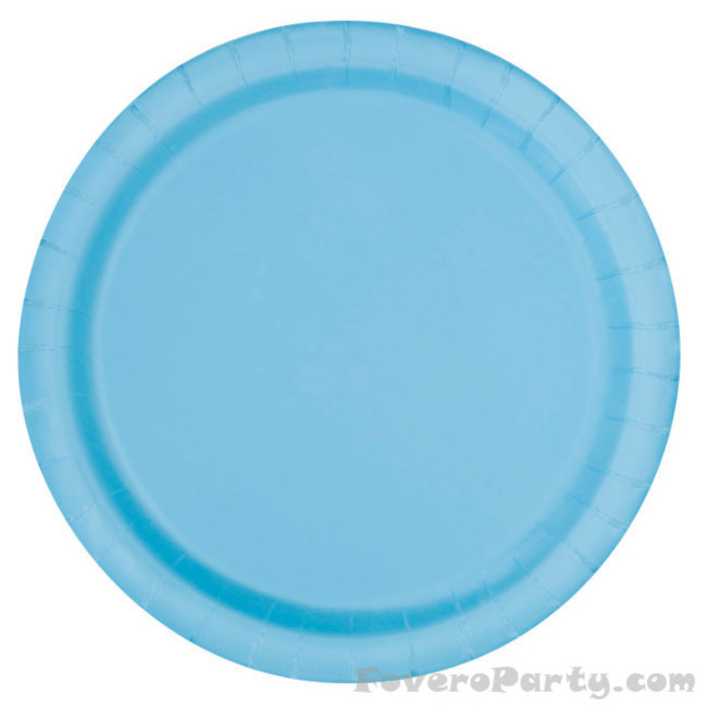16 Paper Plates Light Blue 22cm