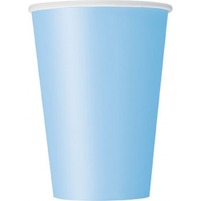 10 Paper Cups Light Blue 350ml