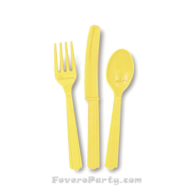 6 Set Cutlery Yellow (18pcs)