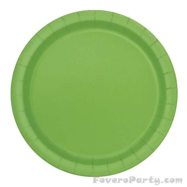 20 Paper Plates Lime green 18cm
