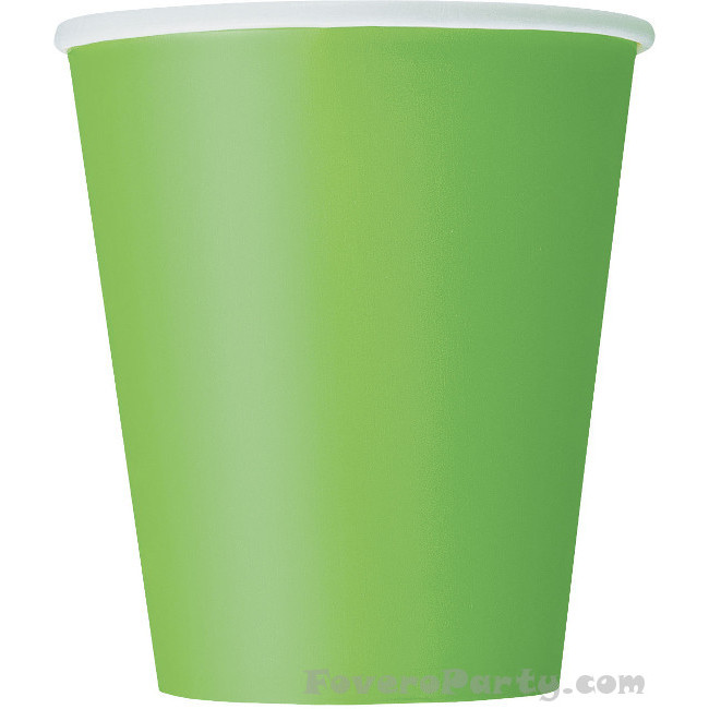 14 Paper Cups Lime green 260ml