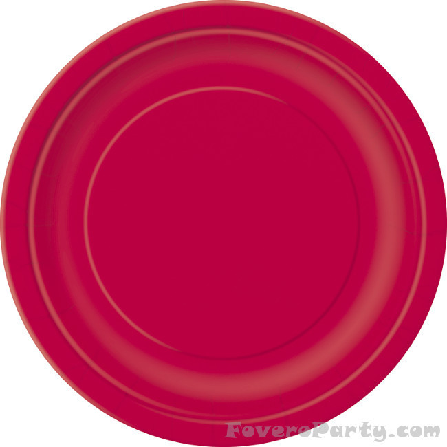 20 Paper Plates Red 17cm