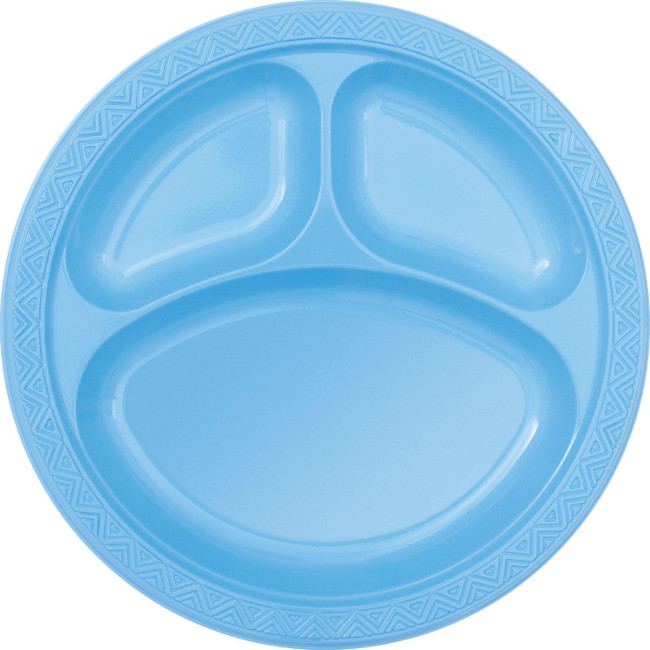 6 Plastic Plates Light Blue 25cm