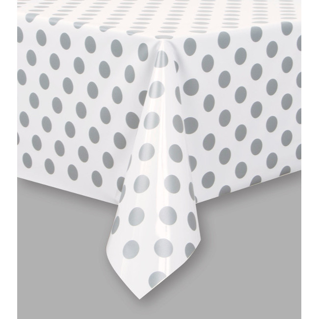Silver Dot Tablecover 134cmX274cm