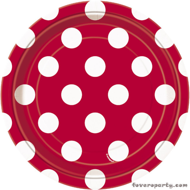 8 Plates Red Dots 18cm