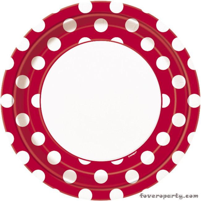 8 Plates Red Dots 23cm