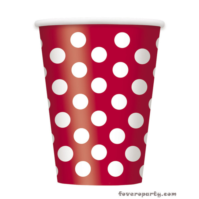 6 Cups Red dots