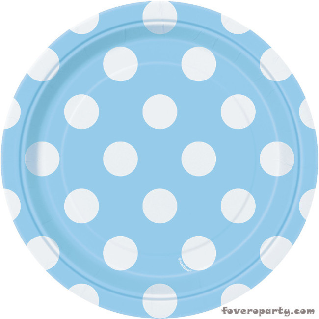 8 Plates Light Blue Dots 18cm