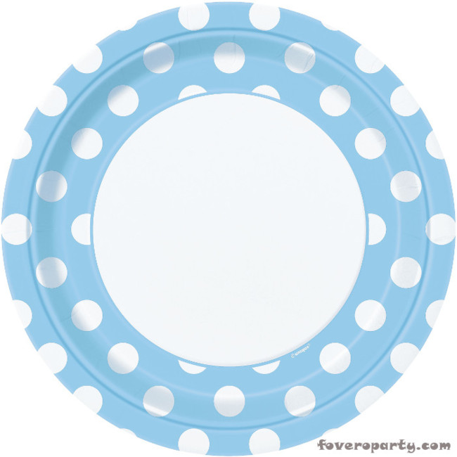 8 Plates Light Blue Dots 23cm