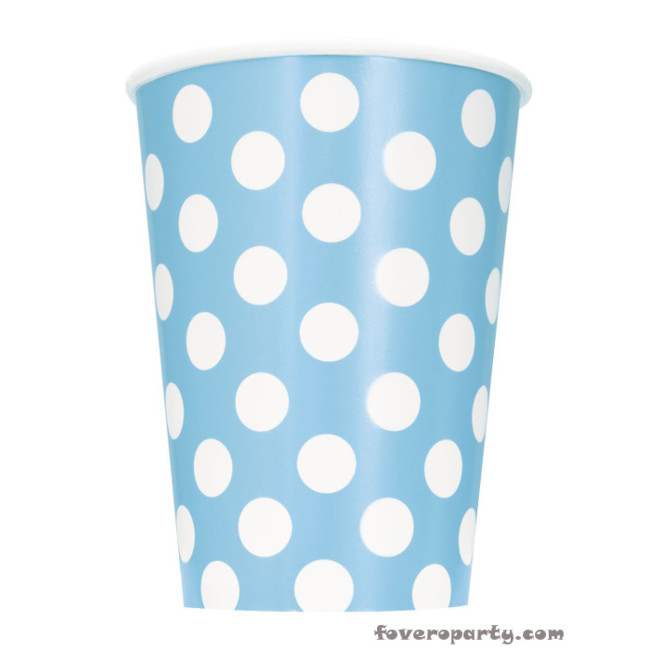 6 Cups Light Blue dots