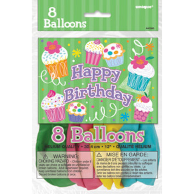 8 Balloons Cupcake party 30cm